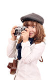 Little girl photographer with old camera Royalty Free Stock Photos