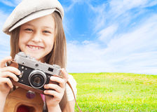 Little girl photographer Royalty Free Stock Image