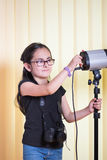 Little girl in a photostudio Royalty Free Stock Photography
