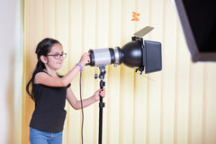Little girl in a photostudio Stock Photo