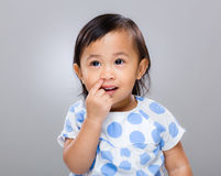 Little girl pick nose Stock Photography