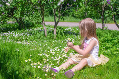 Little girl picking flowers in green glade Stock Images