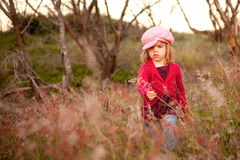 Little Girl Picking Flowers In A Field Stock Image