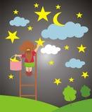 Little girl picking stars. stock illustration