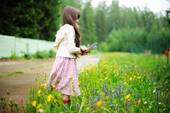 Little girl picking up summer flowers Stock Photos