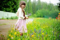 Little girl picking up summer flowers Stock Images