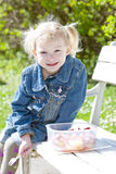 Little girl at picnic Stock Photos