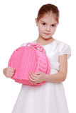 Little girl with picnic basket Stock Photos