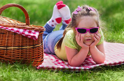 Little girl with picnic basket Royalty Free Stock Image