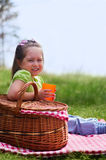 Little girl with picnic basket and plastic cup Stock Photos