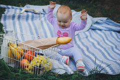 Little girl with picnic basket in summer park Stock Photography