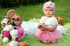 Little girl on a picnic Royalty Free Stock Photography