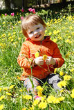 Little girl on a picnic. Little girl  on a picnic on the green background with  flower Stock Photos