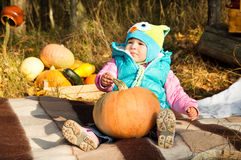 Little girl on a picnic with pumpkin Stock Images