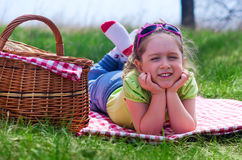 Little girl at picnic Royalty Free Stock Image