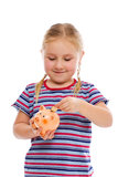 Little girl with piggy bank Stock Image