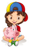 Little girl and piggy bank Royalty Free Stock Image