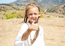 Little girl with pigtails Royalty Free Stock Photos