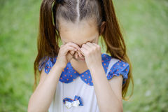 Little girl with pigtails crying Royalty Free Stock Images