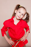 Little girl with pigtails Hamming royalty free stock photos