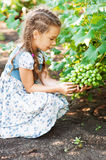 Little girl with pigtails holding Stock Images