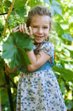 Little girl with pigtails holding Stock Image