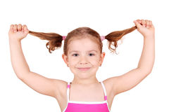 Little girl with pigtails portrait Stock Image