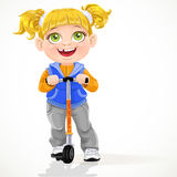 Little girl with pigtails on scooter. On a white background Stock Photography