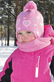 Little girl in a pine forest in winter. Stock Images