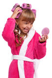 Little girl in pink bathrobe Royalty Free Stock Photos
