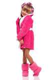 Little girl in pink bathrobe Stock Photo