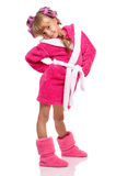 Little girl in pink bathrobe Royalty Free Stock Image