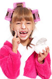 Little girl in pink bathrobe Royalty Free Stock Images