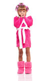 Little girl in pink bathrobe Stock Photography