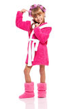Little girl in pink bathrobe Stock Image