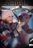Little girl in a pink beret Royalty Free Stock Photo