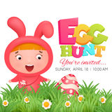 Little girl in pink bunny costume. Easter egg hunt invitation card Royalty Free Stock Photography