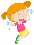 Little girl in pink crying Stock Photography