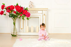 Little girl in a pink dress Stock Image