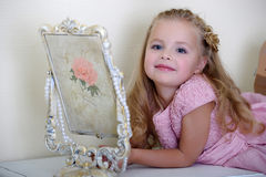 Little girl in a pink dress Stock Photo