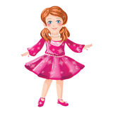 Little girl in pink dress. Illustration of pretty little blond blue eyed girl in a pink dress and matching shoes, white background Stock Photo