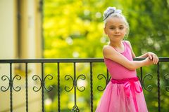 Little Girl in Pink Dress Stock Image