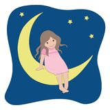Little girl in a pink dress sitting on the moon on a background of the starry sky. The concept `Good Night`. Vector illustration Royalty Free Stock Images