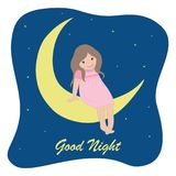 Little girl in a pink dress sitting on the moon on a starry sky background. The concept `Good Night`. Vector illustration Royalty Free Stock Photo