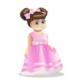 Little girl in a pink dress. On white background Stock Photos