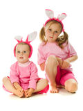 The little girl with pink ears bunny Stock Photography