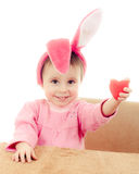 The little girl with pink ears bunny Royalty Free Stock Photography