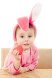 The little girl with pink ears bunny Stock Image