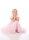 Little girl in a pink elegant dress Royalty Free Stock Images