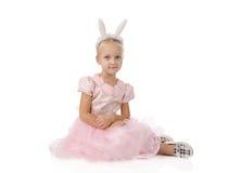 Little girl in a pink elegant dress. Stock Photo